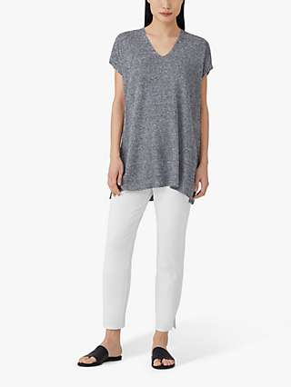 EILEEN FISHER Slim Stretch Cropped Trousers, White