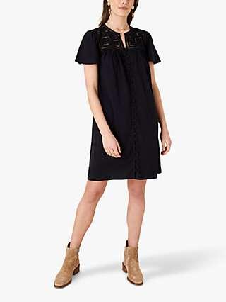 Monsoon Brooke Lace Detail Button Through Jersey Dress, Black