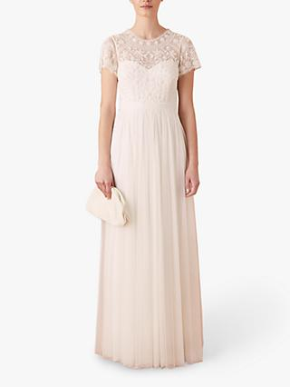 Monsoon Olive Embroidered Tulle Bridal Maxi Dress, Ivory