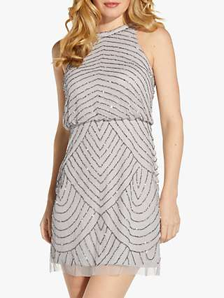 Adrianna Papell Halter Neck Beaded Dress