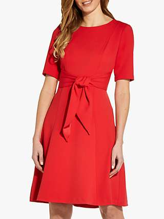 Adrianna Papell Crepe Tie Waist Dress