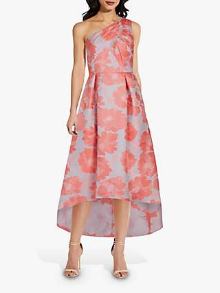 Adrianna Papell Floral Jaquard Midi Gown, Coral/Multi