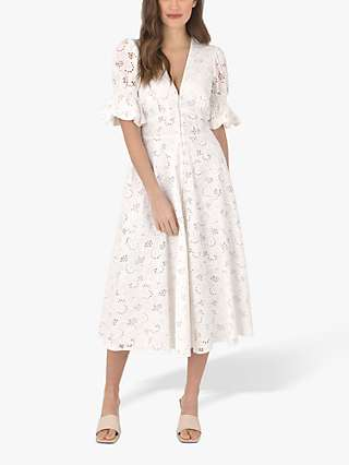 Ro&Zo Broderie Lace Button Front Midi Dress, Ivory