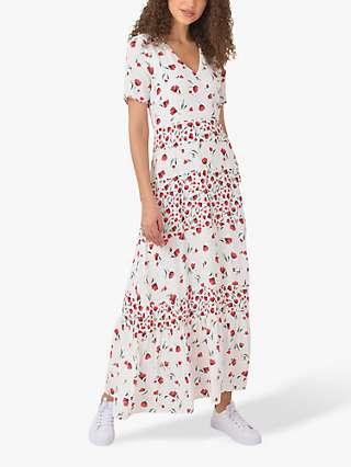 Ro&Zo Floral Print Maxi Dress, Ivory/Red