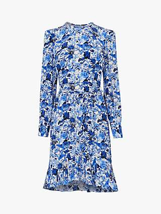 L.K.Bennett Emylou Floral Print Silk Dress, Blue/White