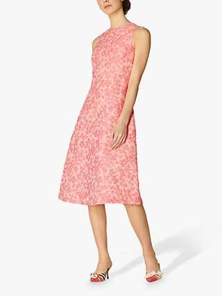 L.K.Bennett Annabel Jacquard Floral Detail A-Line Dress, Pink