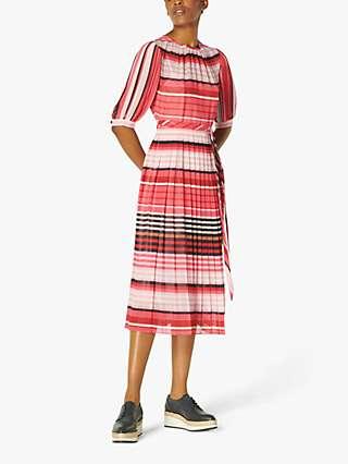 L.K.Bennett Basett Plisse Stripe Dress, Pink/Multi