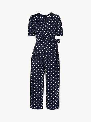 L.K.Bennett Ellen Spot Jumpsuit, Navy/Cream