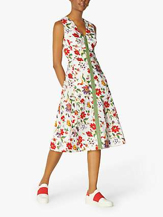 L.K.Bennett Friday Floral Zip Front Midi Dress, White