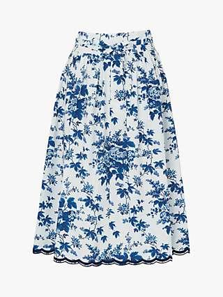 L.K.Bennett Hodgkin Floral Print Skirt, Blue/White