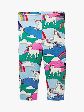Mini Boden Kids' Fun Unicorn Mountain Print Cropped Leggings, Multi