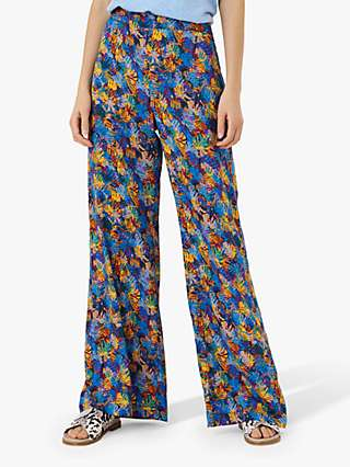 Brora Liberty Floral Print Wide Leg Trousers, Cobalt Palm