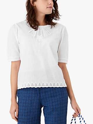 Brora Organic Cotton Embroider Top, White