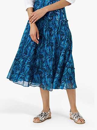 Brora Liberty Cotton Chiffon Floral Print Maxi Skirt, Cobalt Botanic