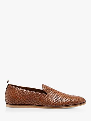 Dune Bases Woven Leather Loafers, Brown