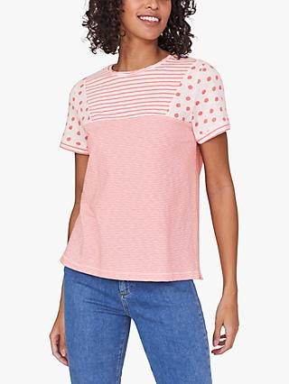 White Stuff Neo Cotton Spot Stripe T-Shirt, Pink