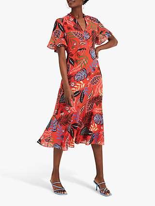 Damsel In A Dress Lara Tropical Print Midi Dress, Red/Multi