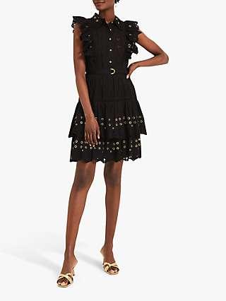 Damsel In A Dress Ana Eyelet Detail Mini Dress, Black
