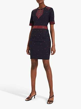 Damsel In A Dress Olymea Stud Detail Mini Dress, Navy/Red