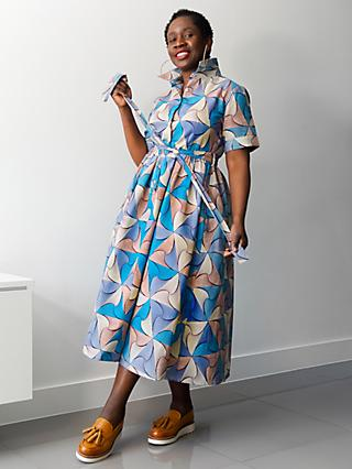Kemi Telford Abstract Belted Shirt Dress, Blue/Multi