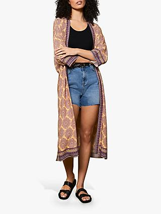 Mint Velvet Faith Geometric Print Kimono, Purple/Multi