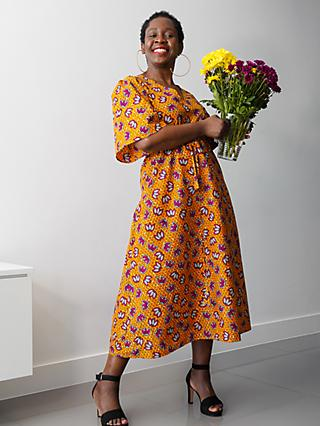 Kemi Telford Floral Drawstring Midi Dress, Orange