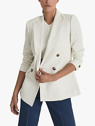 Reiss Faye Double Breasted Blazer, White