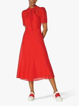 L.K Bennett Sina Silk-Cotton Midi Dress, Bright Red