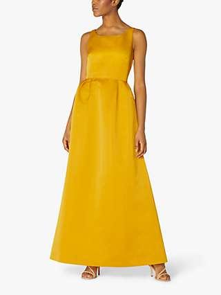 L.K.Bennett Biarritz Satin Maxi Dress, Yellow