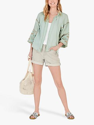 hush Embroidered Cotton Jacket, Green