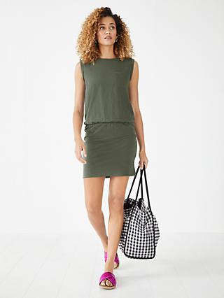 hush Larna Organic Cotton Jersey Mini Dress, Khaki