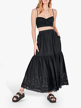 hush Adina Cotton Midi Skirt, Black