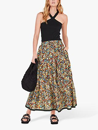 hush Tiered Floral Print Cotton Maxi Skirt, Multi