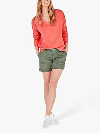 hush Seam Detail V-Neck Sweatshirt, Warm Coral
