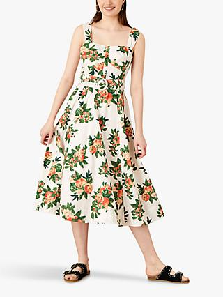 Monsoon Takala Apple Print Midi Dress, Ivory