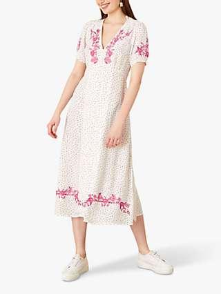 Monsoon Embroidered Spot Print Midi Dress, Ivory