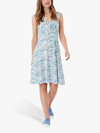 Brora Liberty Floral Sleeveless Mini Jersey Dress, Sky Meadow