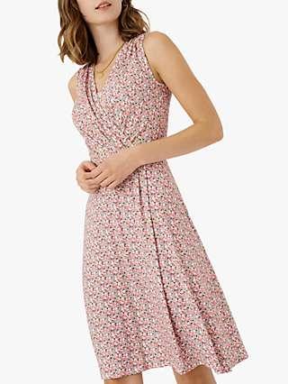 Brora Liberty Floral Sleeveless Mini Jersey Dress, Coral