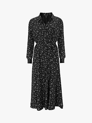 Baukjen Isabella Midi Shirt Dress, Black Scatter