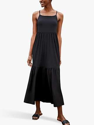 Baukjen Sylvie Tiered Jersey Maxi Dress, Caviar Black