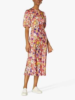 L.K.Bennett Alice Wildflower Print Midi Dress, Lipstick