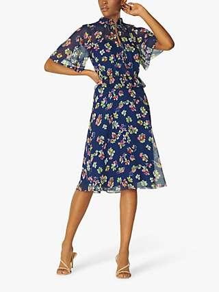 L.K.Bennett Tate Floral Crinkle Silk Midi Dress, Midnight