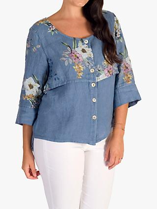 chesca Floral Print Linen Jacket, Denim