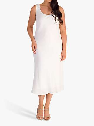 Chesca Fine Crinkle Midi Dress, White