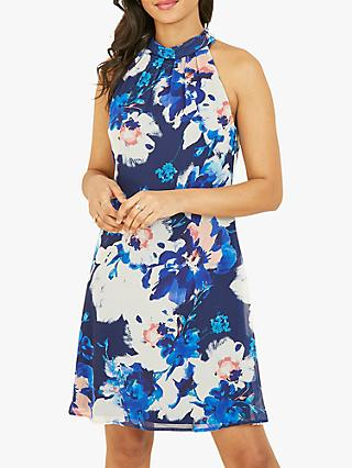 Yumi Abstract Floral Mini Dress, Blue/Multi