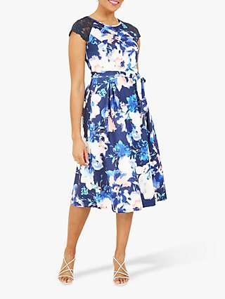 Yumi Lace Sleeve Floral Print Midi Skater Dress, Blue