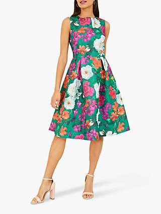 Yumi Floral Jacquard Knee Length Dress, Green