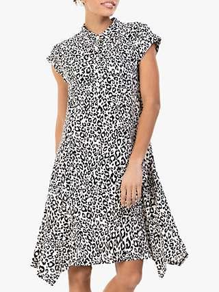 Jolie Moi Elle Leopard Print Tunic Dress, Black