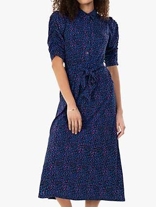 Jolie Moi Calla Animal Print Shirt Dress, Blue