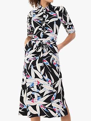 Jolie Moi Calla Leaf Print Shirt Dress, Black